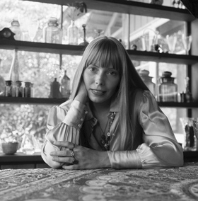 Joni Mitchell at her home in Laurel Canyon, California in 1968